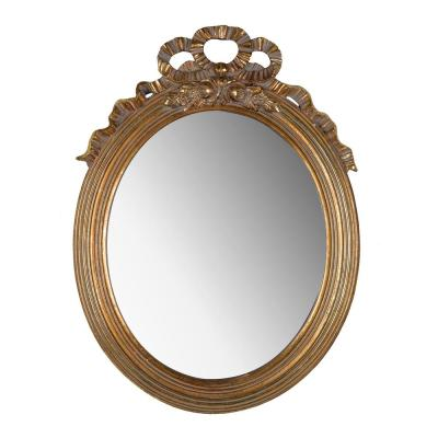 Gold Marquis Gold Leaf Small Round Mirror