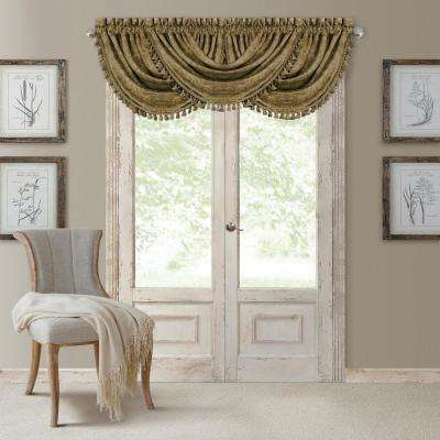 Antonia 52 in. W x 36 in. L, Polyester Blackout Rod Pocket Window Valance in Antique Gold