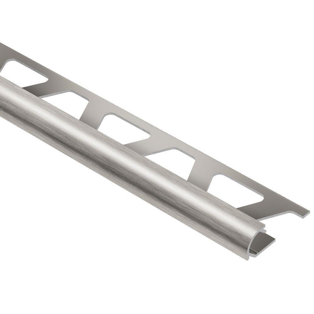 Schluter Rondec Brushed Nickel Anodized Aluminum 5/16 in. x 8 ft. 2-1/2 in. Metal Bullnose Tile Edging Trim