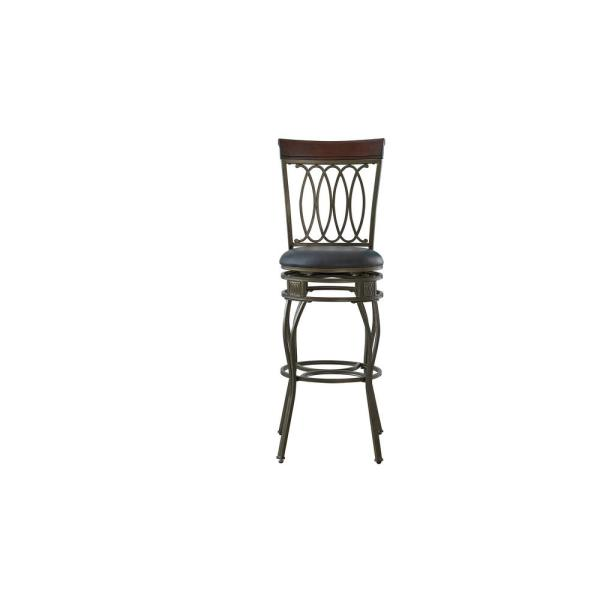 Copper Big and Tall Faux Leather Bar Counter Stool with Stamped Back