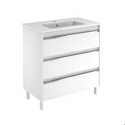 31.6 in. W x 18.1 in. D x 33.4 in. H Bathroom Vanity Unit in Gloss White with Vanity Top and Basin in White