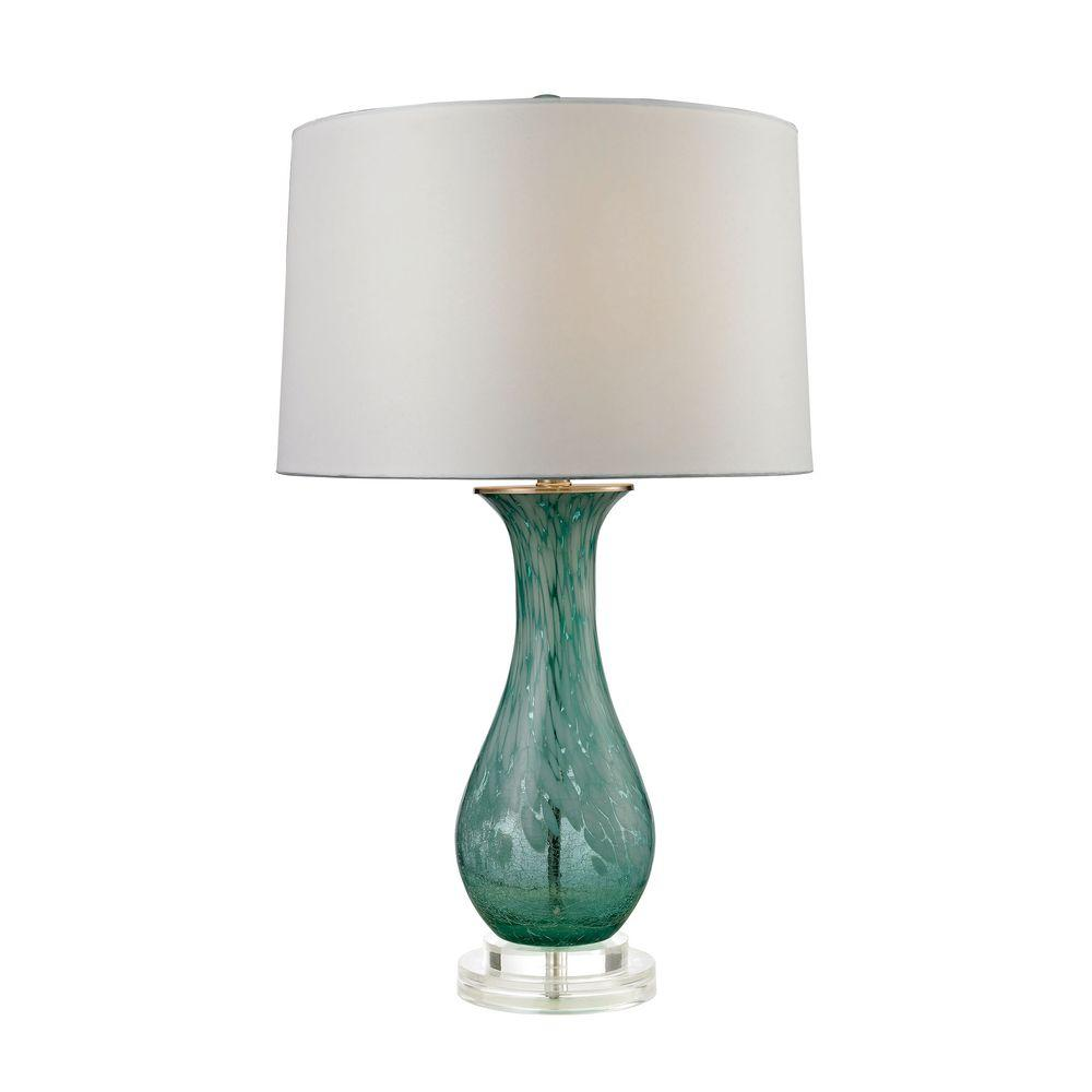 Aqua Swirl Glass Table Lamp