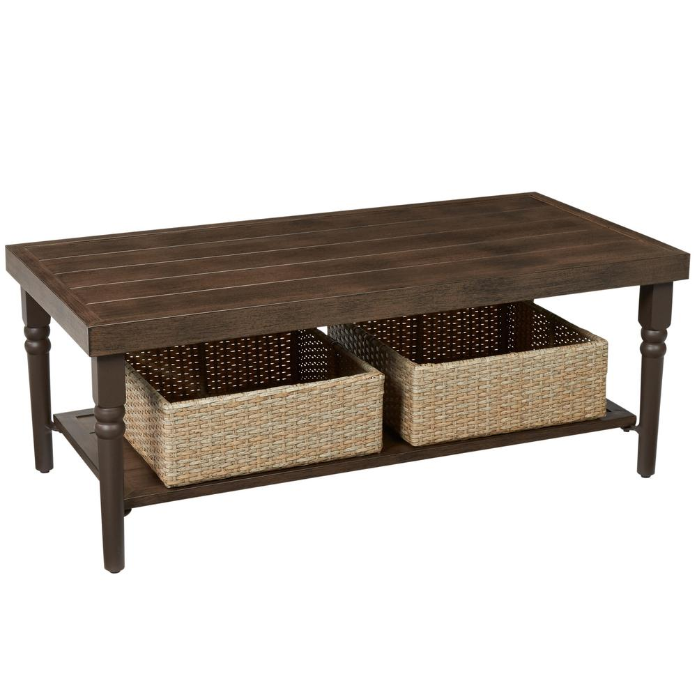 Coffee Table Patio Furniture: Hampton Bay Lemon Grove Wicker Rectangle Outdoor Coffee