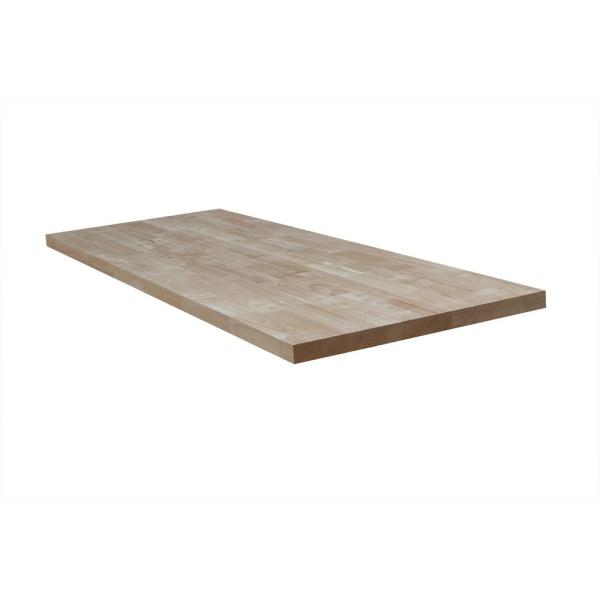 Unfinished Hevea 10 ft. L x 25 in. D x 1.5 in. T Butcher Block Countertop