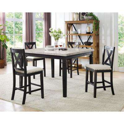 Azul 5 Piece Espresso And Ivory Dining Set: Marble Table And 4 Wooden