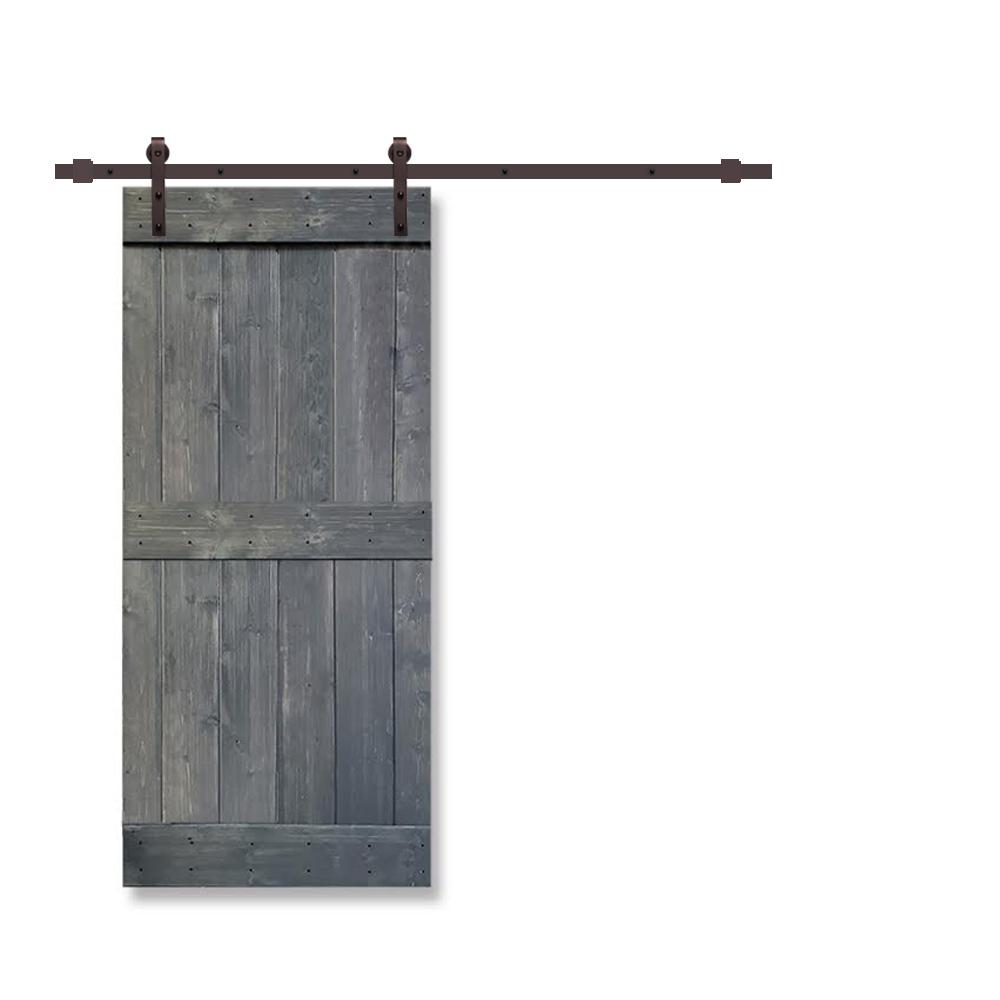 CALHOME Mid-Bar 24 in. x 84 in. Gray Stained Knotty Pine Wood Interior Sliding Barn Door with