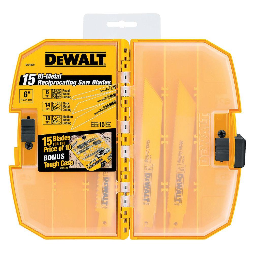 Dewalt bi metal reciprocating saw blade set 15 piece with tough dewalt bi metal reciprocating saw blade set 15 piece with tough case greentooth Gallery