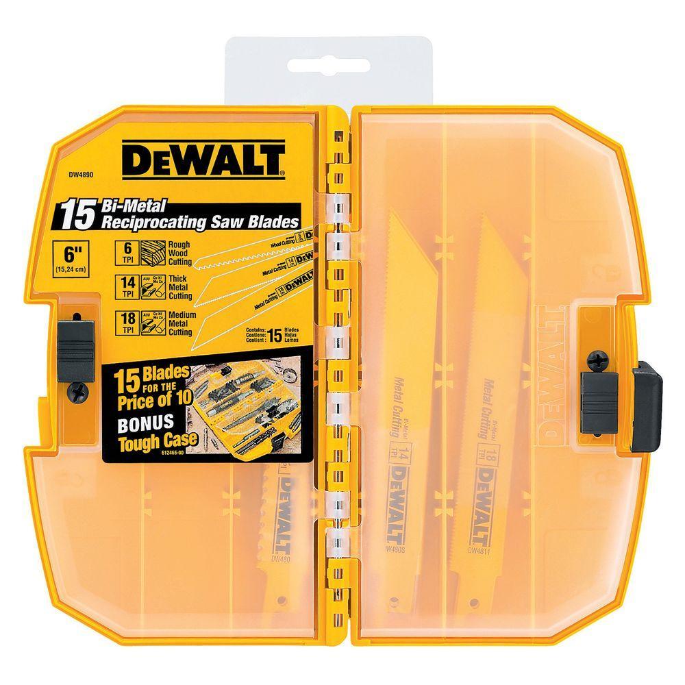 Dewalt Bi-Metal Reciprocating Saw Blade Set (15-Piece) with Tough Case by DEWALT