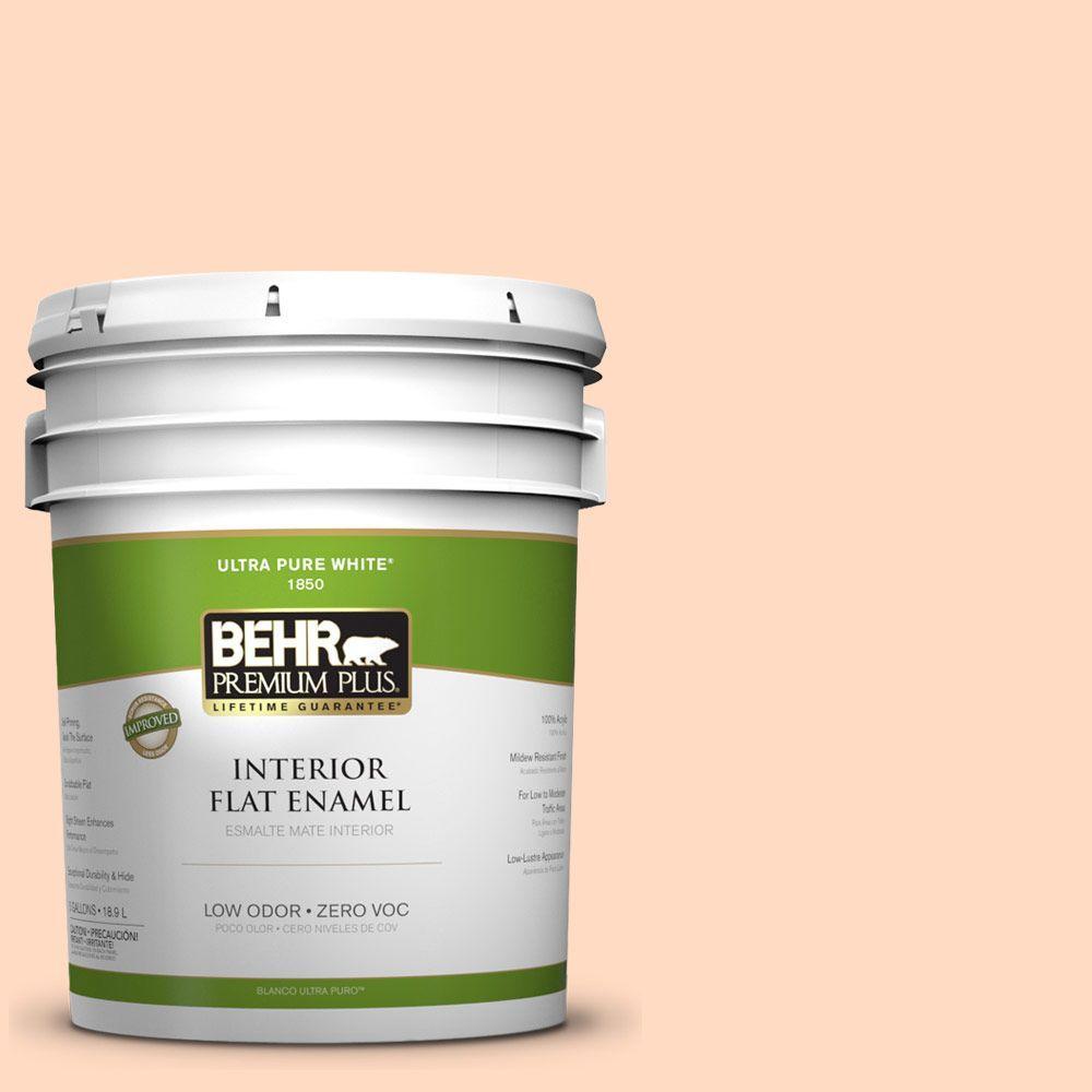BEHR Premium Plus 5-gal. #250A-3 Whispering Peach Zero VOC Flat Enamel Interior Paint-DISCONTINUED