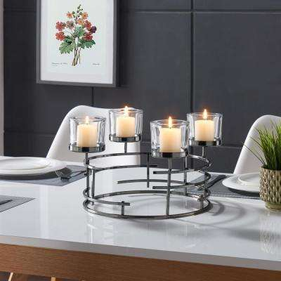 Smoke  Black Metallic Round Candleholder
