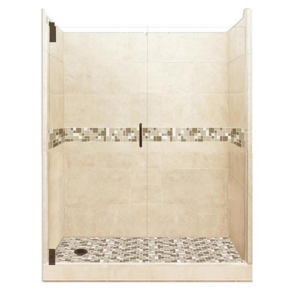 American Bath Factory Tuscany Grand Hinged 34 In X 60 In X 80 In Left Drain Alcove Shower Kit In Desert Sand And Old Bronze Hardware Agh 6034dt Ld Ob The Home Depot