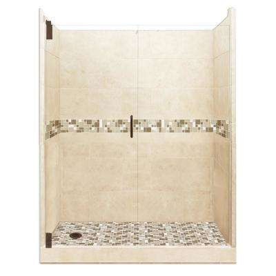 Tuscany Grand Hinged 42 in. x 60 in. x 80 in. Left Drain Alcove Shower Kit in Desert Sand and Old Bronze Hardware