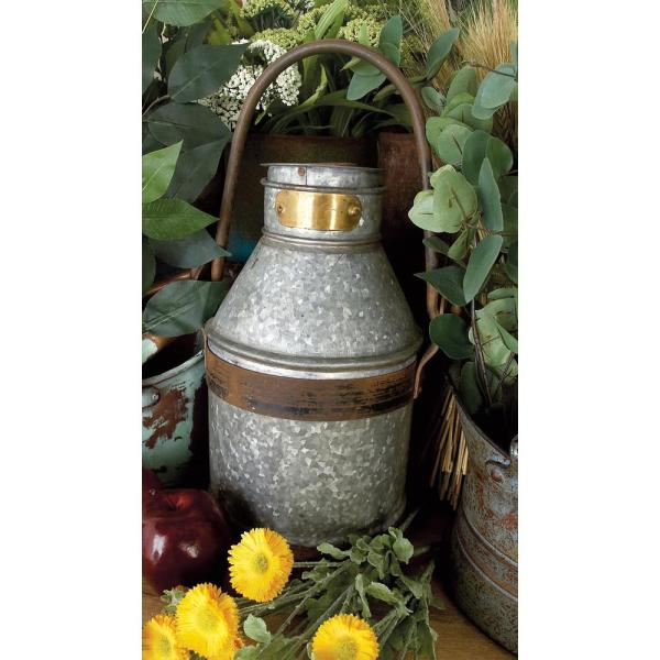 9 in. x 13 in. Distressed Gray and Brown Iron Milk Can with Handle