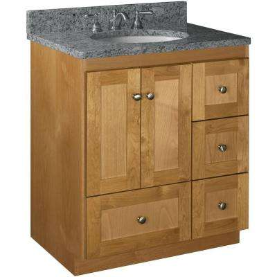 Shaker 30 in. W x 21 in. D x 34.5 in. H Vanity with Right Drawers Cabinet Only in Natural Alder