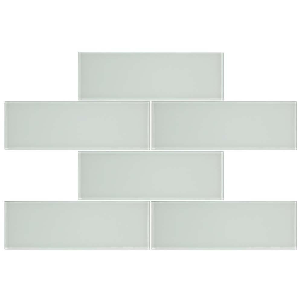 Merola Tile Tessera Grand Subway Ice White 4 In X 12 Gl Wall