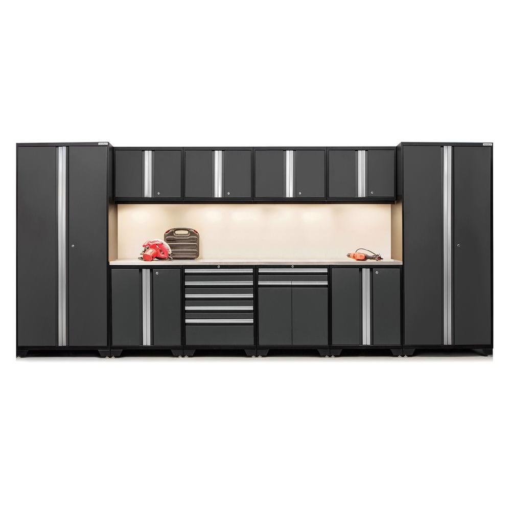 Pro 3 Series 85 in. H x 184 in. W x 24 in. D 18-Gauge Welded Stainless Steel Worktop Cabinet Set in Gray (12-Piece)