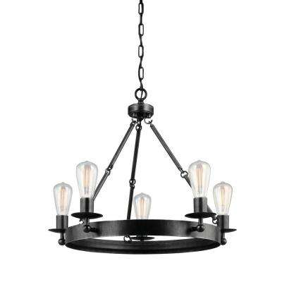 Ravenwood Manor 25 in. W. 5-Light Weathered Gray Single Tier Chandelier