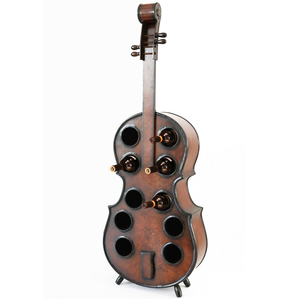 10-Bottle Cherry Brown Wooden Violin Shaped Wine Rack with Decorative Wine