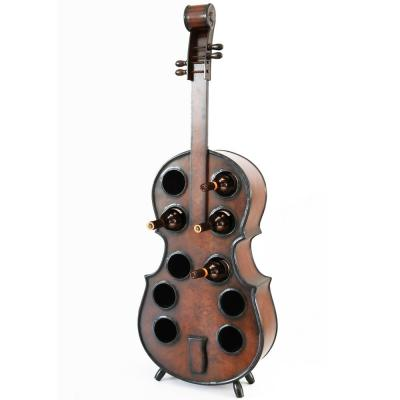 10-Bottle Cherry Brown Wooden Violin Shaped Wine Rack with Decorative Wine Holder