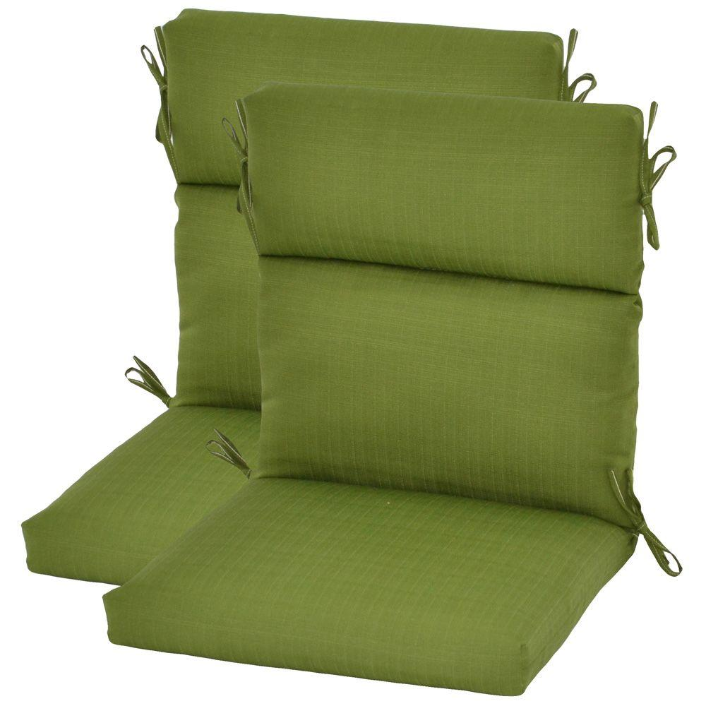 Plantation Patterns Pesto Green Textured High Back Outdoor Chair Cushion (2-Pack)-DISCONTINUED