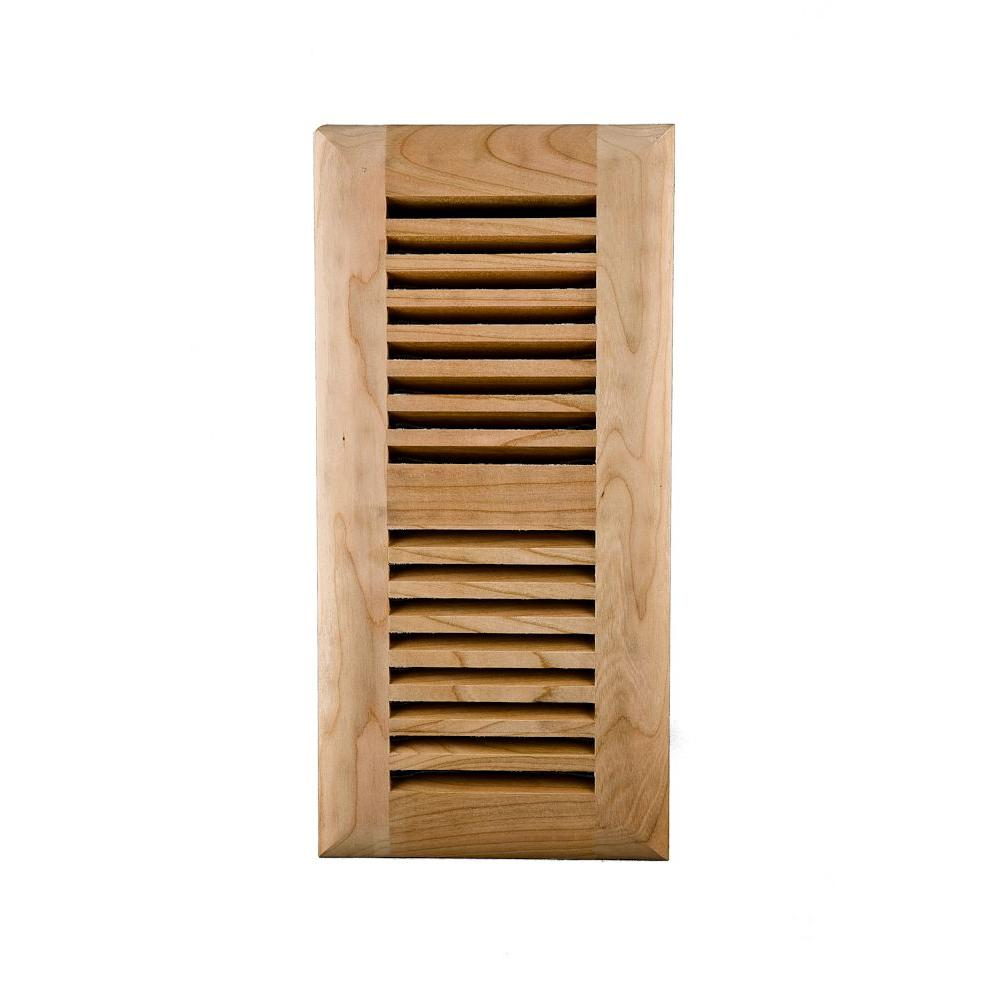 Image Wood Vents 4 x 12 Red Birch Ready to Finish Self Rimming Air Register with Metal Damper-DISCONTINUED