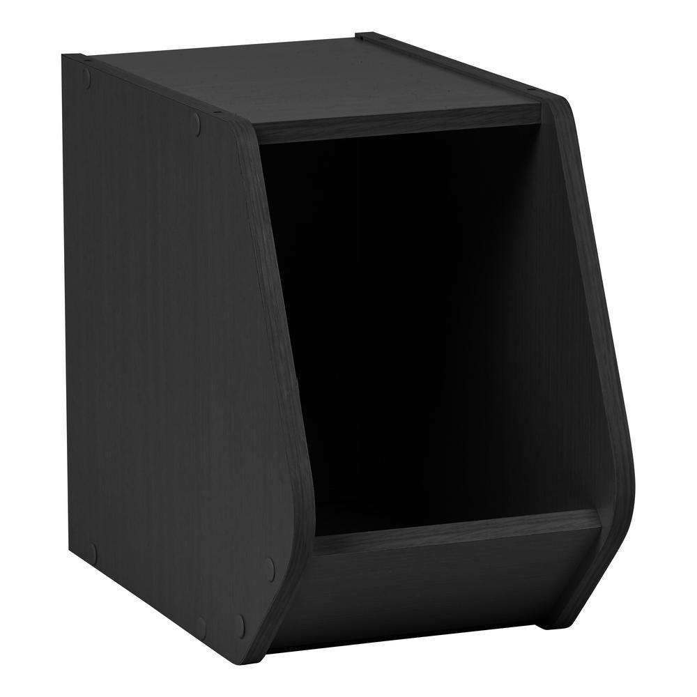 TACHI Black Narrow Modular Wood Stacking Open Storage Box