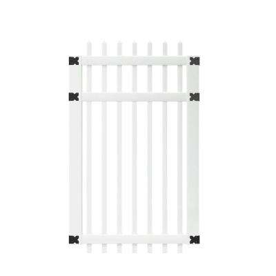 3-1/2 ft. W x 6 ft. H White Vinyl Manchester Spaced Picket Fence Gate