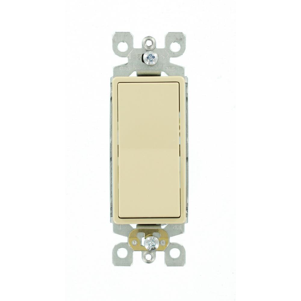 Leviton Decora 15 Amp 3-Way Switch, Ivory
