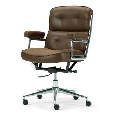 Barton Swivel Adjustable Executive Computer Office Chair In Chocolate Brown  Faux Leather