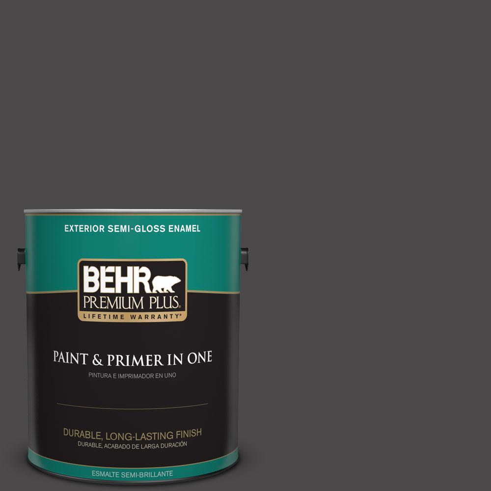 1-gal. #N530-7 Private Black Semi-Gloss Enamel Exterior Paint