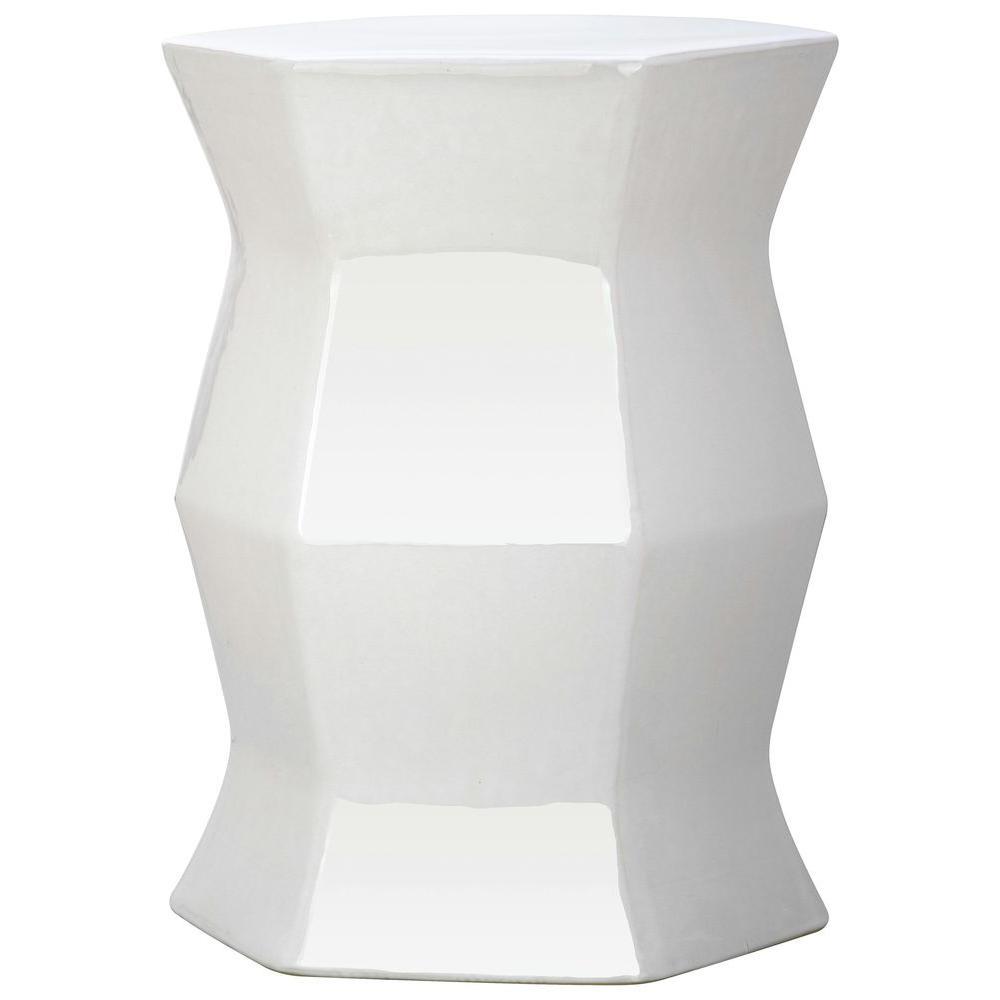 Modern Hexagon White Ceramic Garden Stool