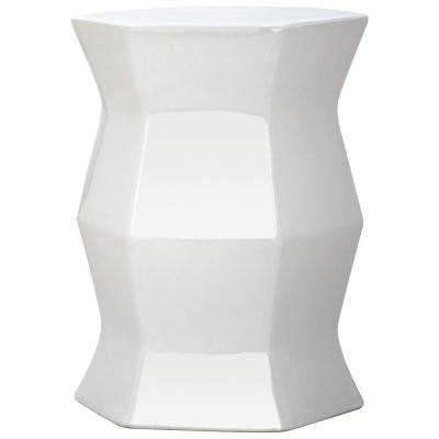 Modern Hexagon White Garden Patio Stool