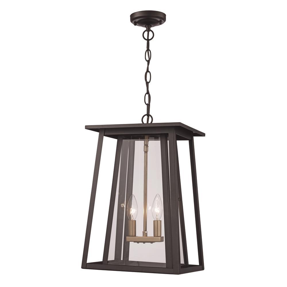 Large 2-Light Black Outdoor Pendant Light