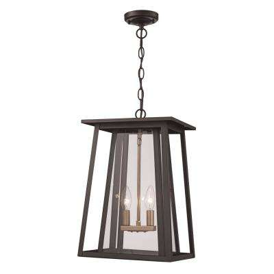 Large 2 Light Black Outdoor Pendant