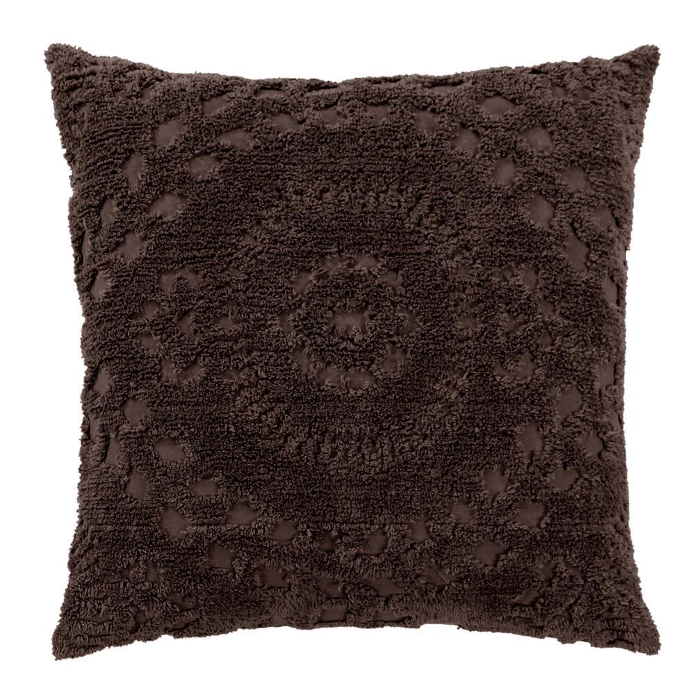 Rio Collection in Floral Design Chocolate Euro 100% Cotton Tufted Chenille Sham