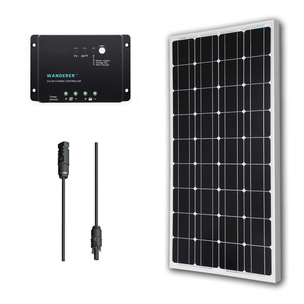 100-Watt 12-Volt Monocrystalline Solar Panel Off-Grid Bundle Kit with 30 Amp Negative Ground Controller