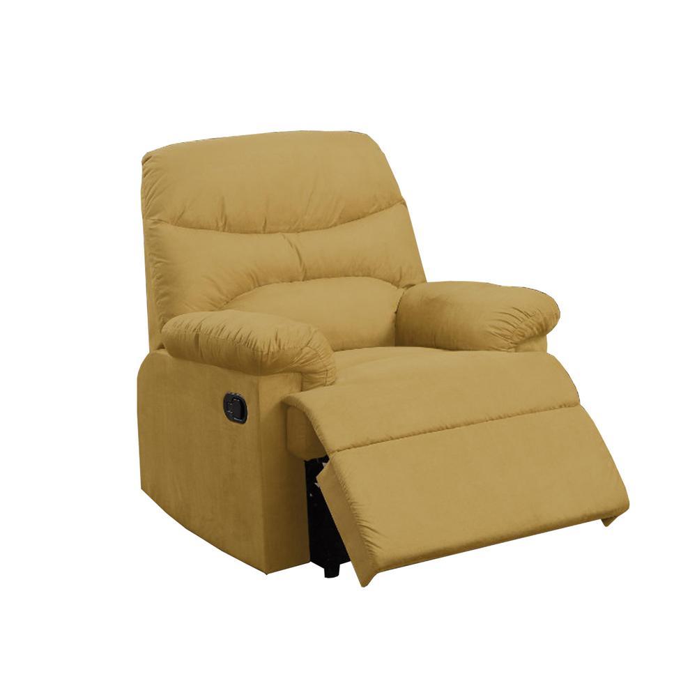 Benzara Modern Cushion Microfiber Upholstered Yellow Recliner BM171496