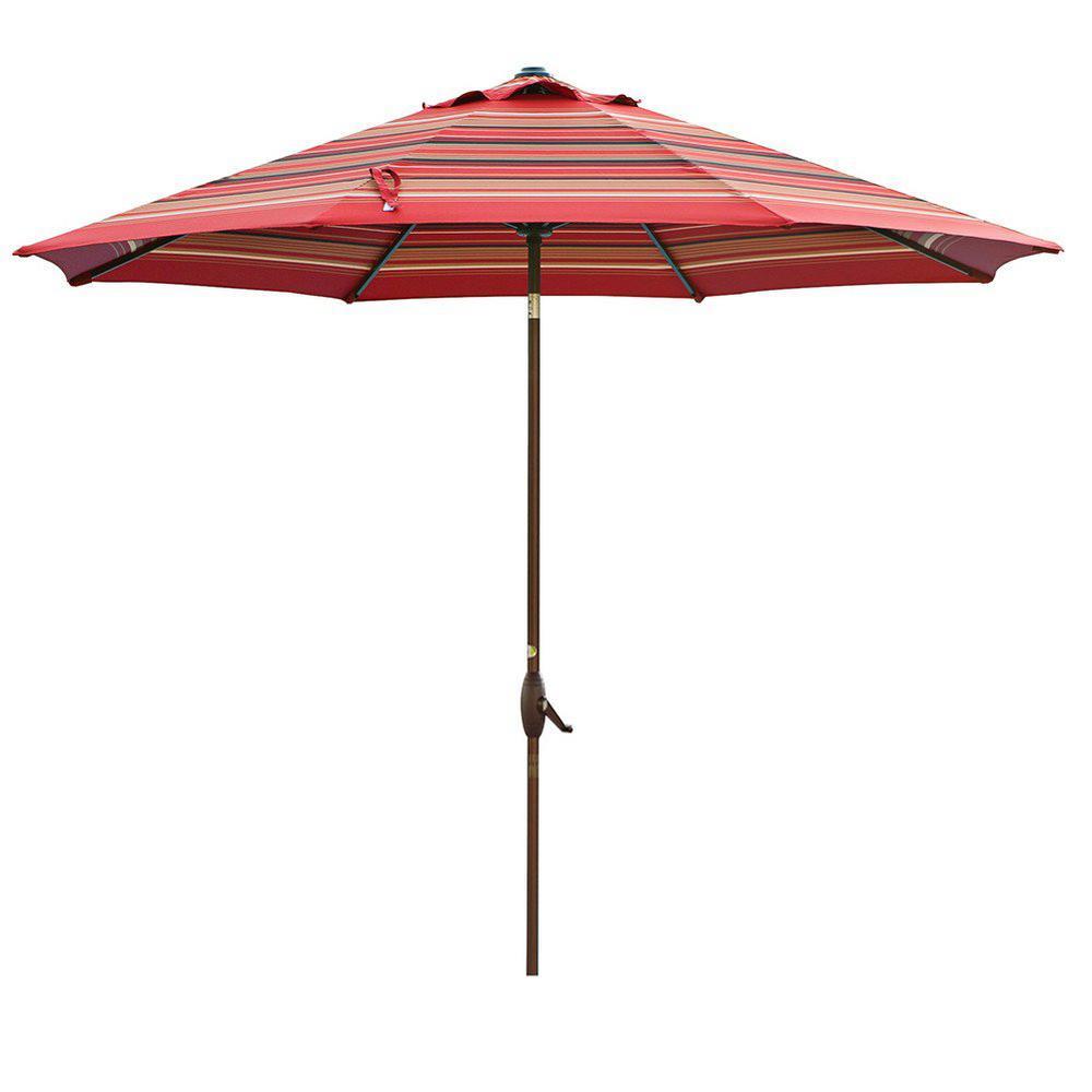 11 ft. Aluminum Market Push Tilt and Crank Patio Umbrella in Red Stripe