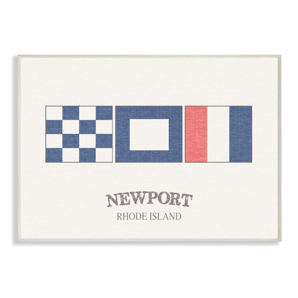 "10 in. x 15 in. ""Newport Rhode Island Nautical Flags"" by Daphne Polselli Printed Wood Wall Art"