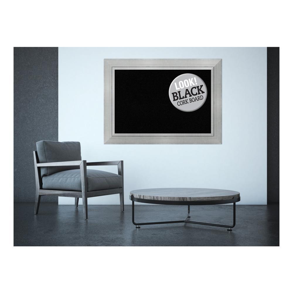 Amanti Art Romano Silver Wood 44 in. x 32 in. Framed Black Cork ...