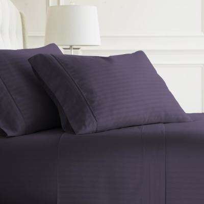 Embossed Striped 4-Piece Purple King Performance Bed Sheet Set