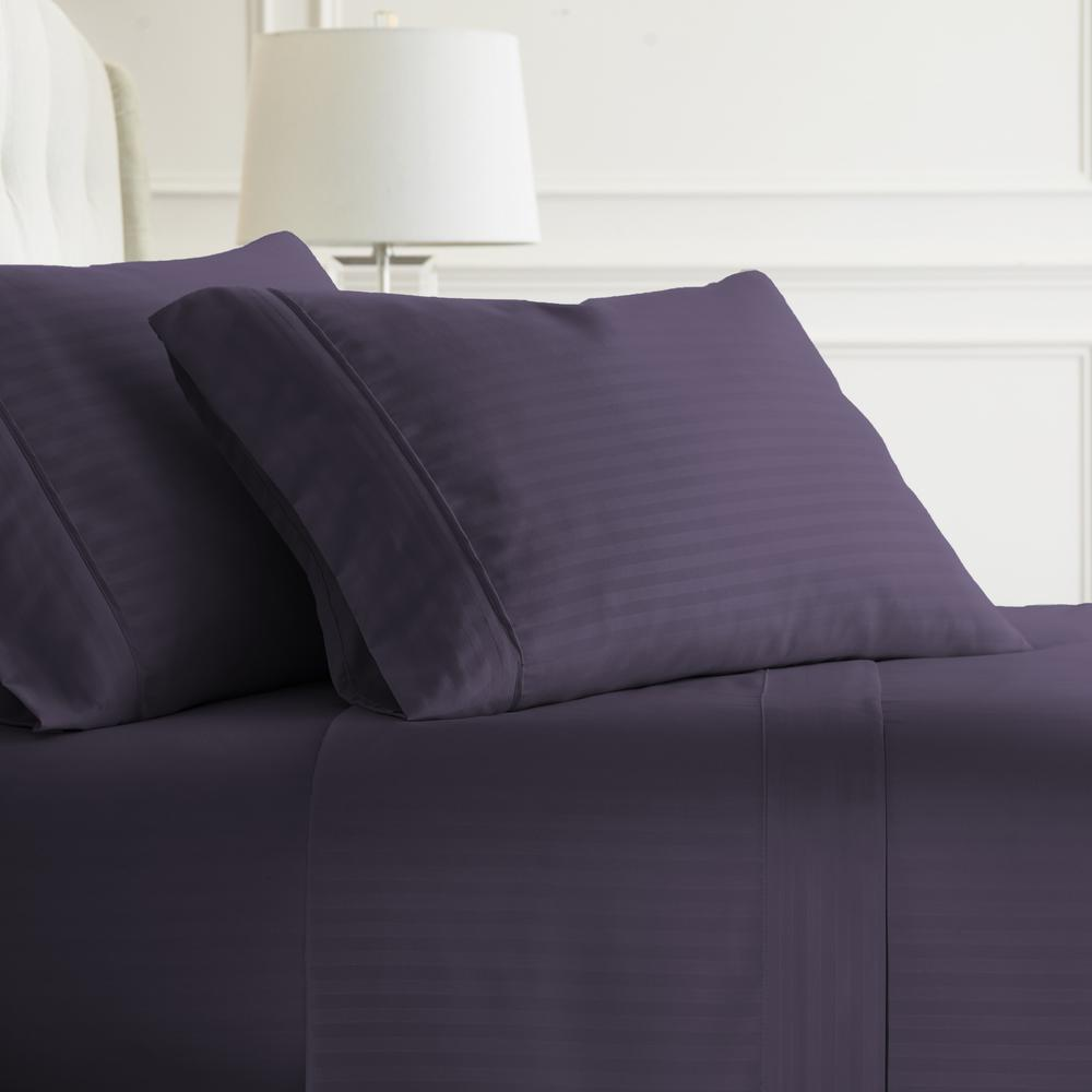 Becky Cameron Embossed Striped 4 Piece Purple Twin Performance Bed Sheet Set
