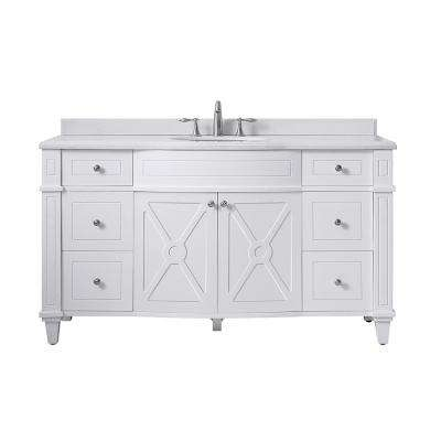 Bergeron 60 in. W x 22 in. D Bath Vanity in White with Cultured Stone Vanity Top in White with White Basin