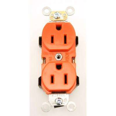 15 Amp Industrial Grade Heavy Duty Self Grounding Duplex Outlet, Red