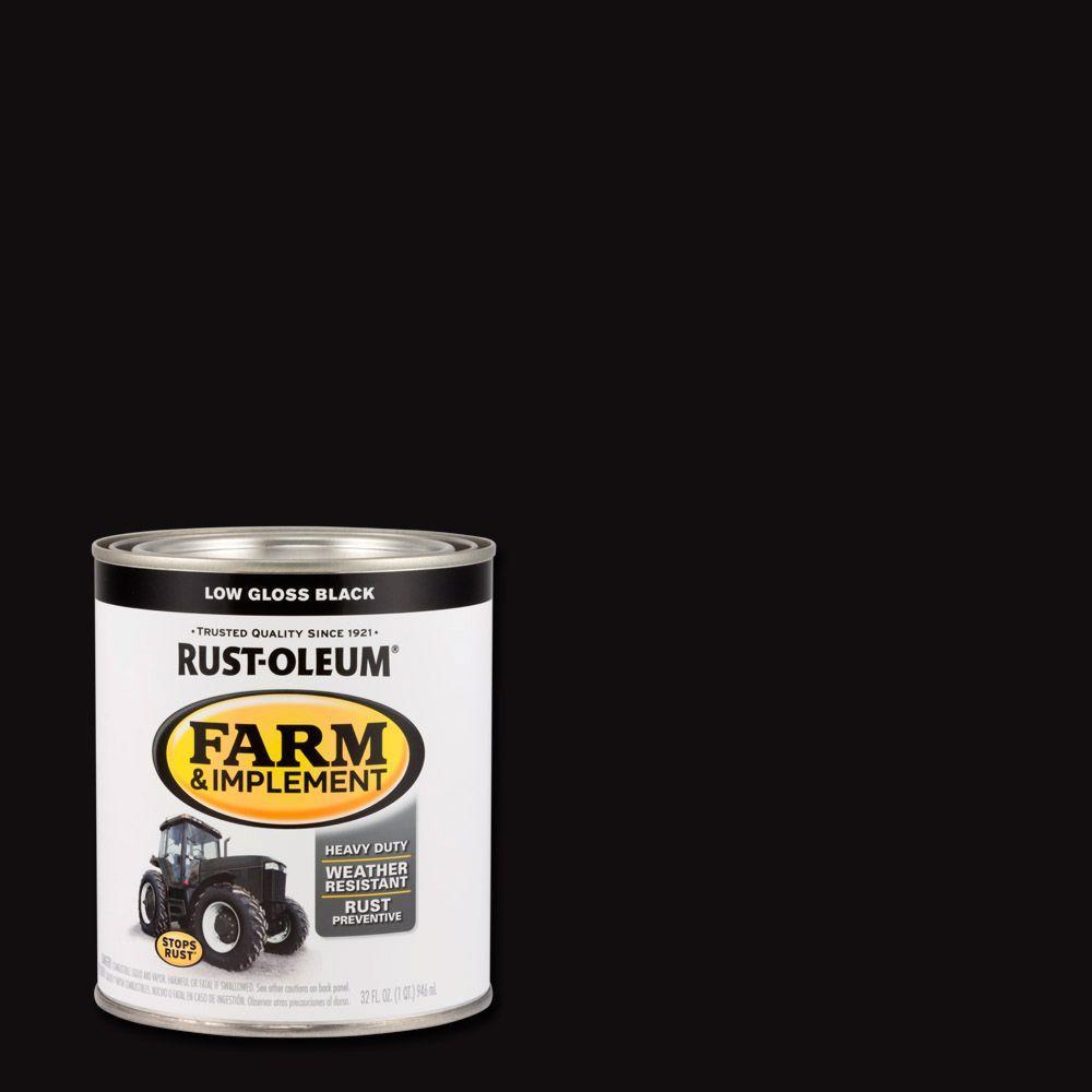 1 qt. Farm Equipment Low Gloss Black Enamel Paint (2-Pack)