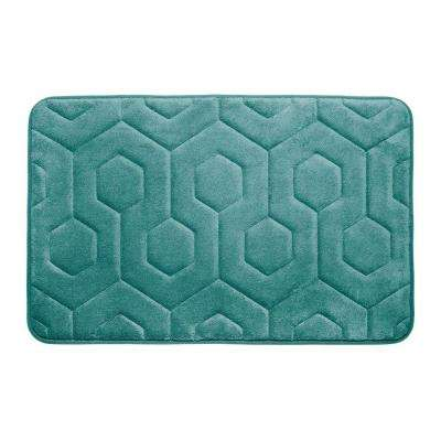 Hexagon Marine Blue 17 in. x 24 in. Memory Foam Bath Mat