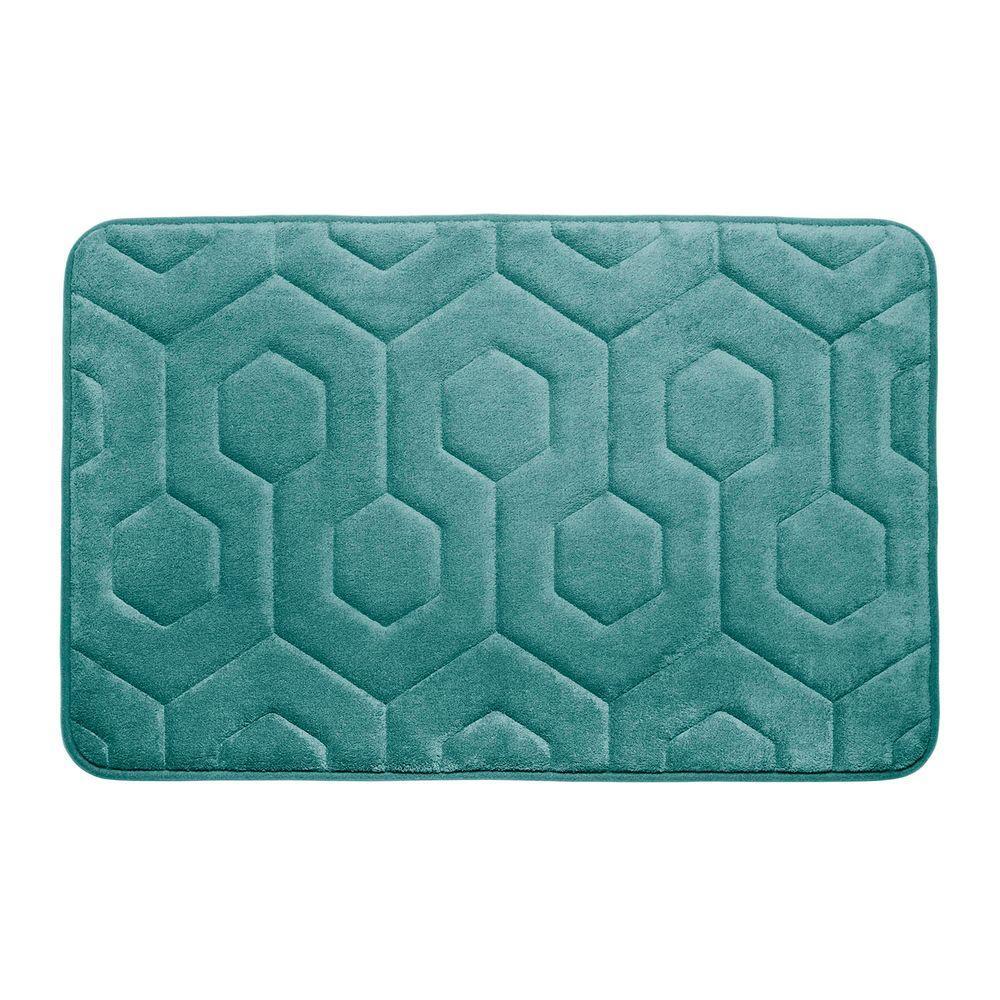 Hexagon Marine Blue 17 in. x 24 in. Memory Foam Bath