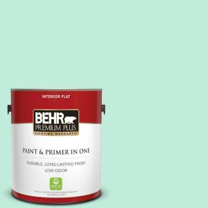BEHR Premium Plus 1 gal  #470A-2 Seafoam Pearl Flat Low Odor Interior Paint  and Primer in One-105001 - The Home Depot