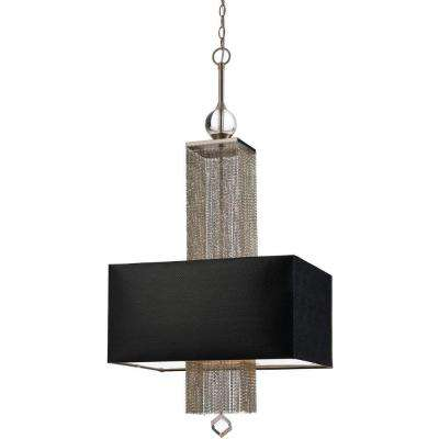 8446 3-Light Silver Pendant with Black Shade