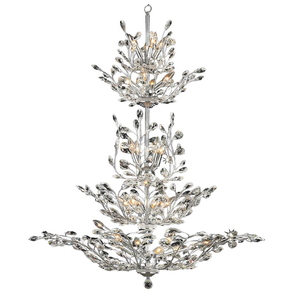 Worldwide Lighting Aspen 26-Light Polished Chrome with Clear Floral Crystals Large 4-Tier Chandelier